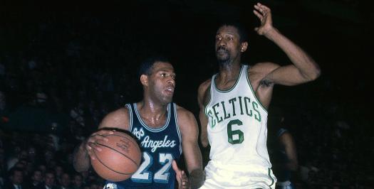 Elgin Baylor drives vs Celtics Bill Russell cropped